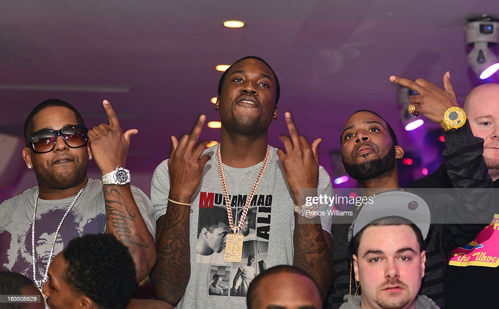 BL, <a gi-track='captionPersonalityLinkClicked' href=/galleries/search?phrase=Meek+Mill&family=editorial&specificpeople=7187702 ng-click='$event.stopPropagation()'>Meek Mill</a> (C) and J Prince Jr attend at Compound on March 9, 2013 in Atlanta, Georgia.