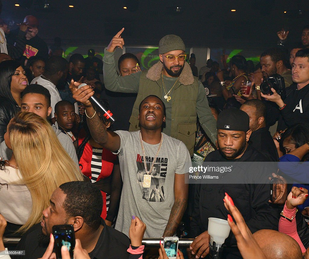 <a gi-track='captionPersonalityLinkClicked' href=/galleries/search?phrase=Meek+Mill&family=editorial&specificpeople=7187702 ng-click='$event.stopPropagation()'>Meek Mill</a> (C) and Kenny Burns perform in concert at Compound on March 9, 2013 in Atlanta, Georgia.