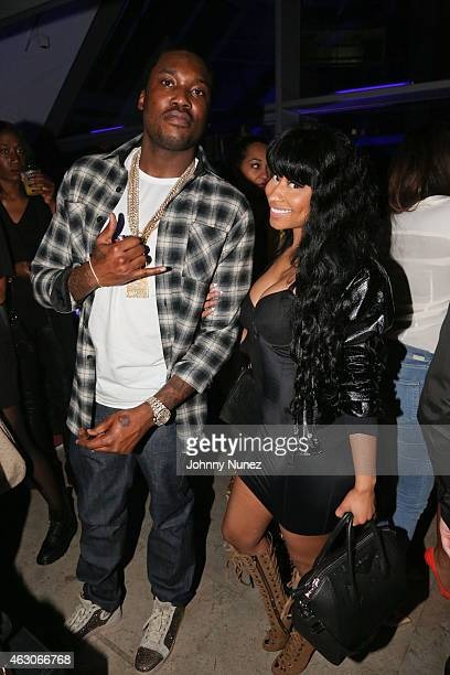 Meek Mill and Nicki Minaj attend Meek Mill Official Grammy Party on February 8 2015 in Beverly Hills California