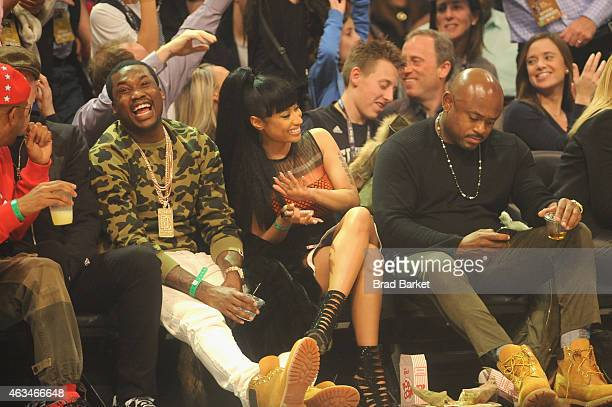Meek Mill and Nicki Minaj attend State Farm AllStar Saturday Night NBA AllStar Weekend 2015 at Barclays Center on February 14 2015 in New York New...