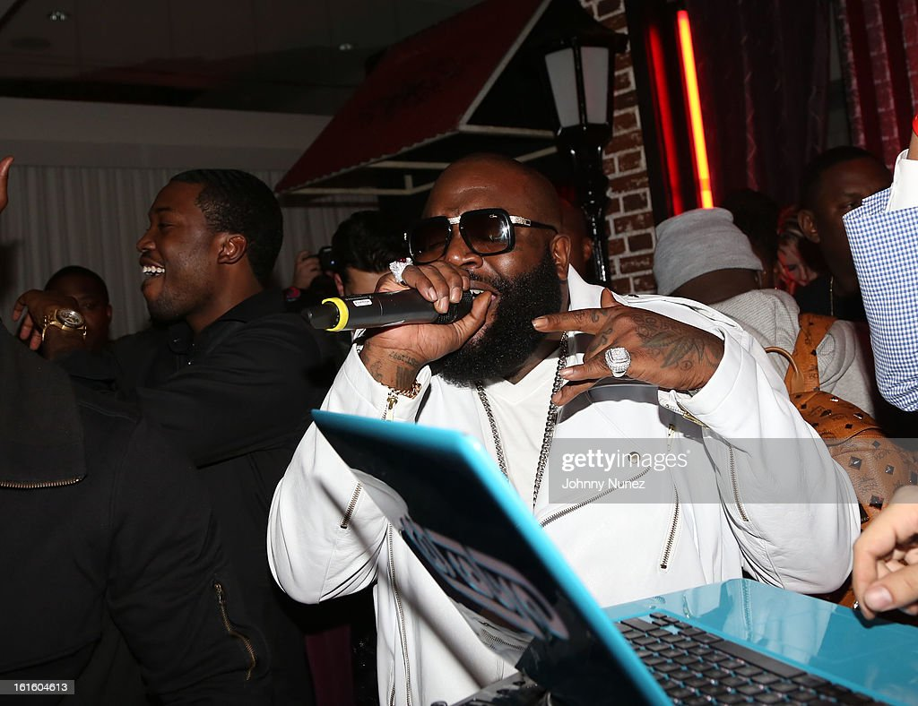 Meek Mill and Rick Ross attend House Of Hype Monster Grammy Party at House Of Hype on February 10, 2013 in Los Angeles, California.