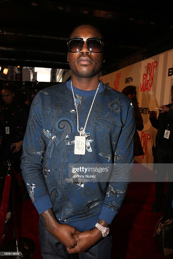 <a gi-track='captionPersonalityLinkClicked' href=/galleries/search?phrase=Meek+Mill&family=editorial&specificpeople=7187702 ng-click='$event.stopPropagation()'>Meek Mill</a> attends BET's Rip The Runway 2013 at Hammerstein Ballroom, on February 27, 2013, in New York City.