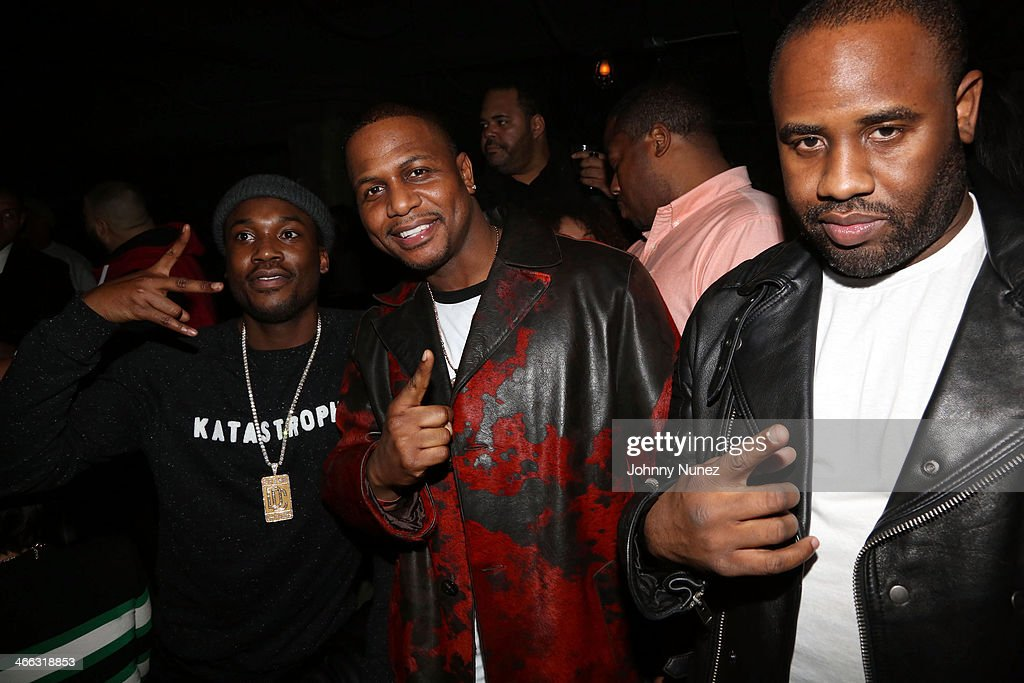 <a gi-track='captionPersonalityLinkClicked' href=/galleries/search?phrase=Meek+Mill&family=editorial&specificpeople=7187702 ng-click='$event.stopPropagation()'>Meek Mill</a>, AZ, and Coon Philly attend the 7th Annual Friday Night Lights event at Hudson Hotel on January 31, 2014 in New York City.