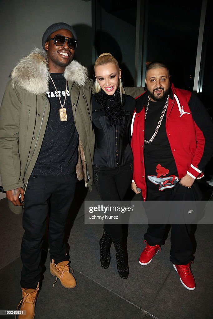 <a gi-track='captionPersonalityLinkClicked' href=/galleries/search?phrase=Meek+Mill&family=editorial&specificpeople=7187702 ng-click='$event.stopPropagation()'>Meek Mill</a>, Just Ivy, and <a gi-track='captionPersonalityLinkClicked' href=/galleries/search?phrase=DJ+Khaled&family=editorial&specificpeople=577862 ng-click='$event.stopPropagation()'>DJ Khaled</a> attend the Just Ivy Private Showcase at The Glasshouses on January 31, 2014 in New York City.