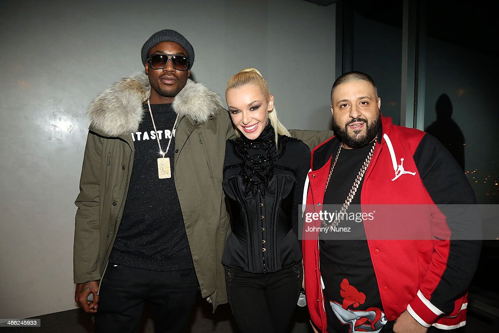 Meek Mill, Just Ivy, and DJ Khaled attend the Just Ivy Private Showcase at The Glasshouses on January 31, 2014 in New York City.
