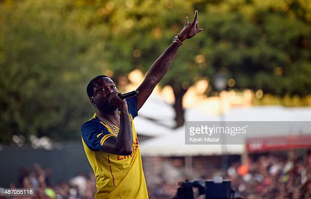 Meek Mill performs onstage during the 2015 Budweiser Made in America Festival at Benjamin Franklin Parkway on September 5 2015 in Philadelphia...