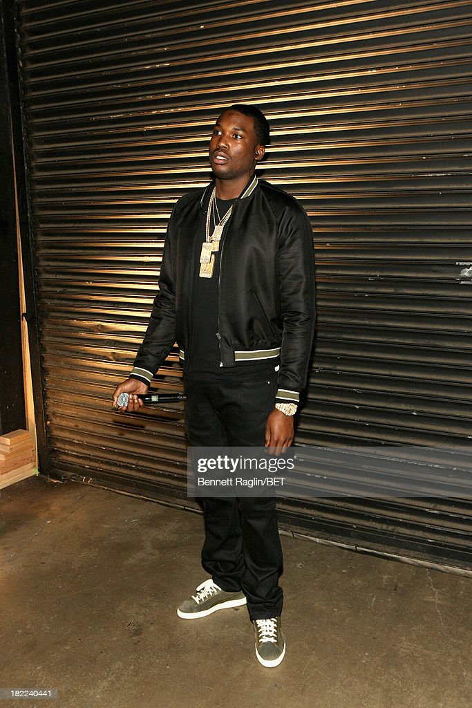 <a gi-track='captionPersonalityLinkClicked' href=/galleries/search?phrase=Meek+Mill&family=editorial&specificpeople=7187702 ng-click='$event.stopPropagation()'>Meek Mill</a> poses backstage at the BET Hip Hop Awards 2013 at Boisfeuillet Jones Atlanta Civic Center on September 28, 2013 in Atlanta, Georgia.
