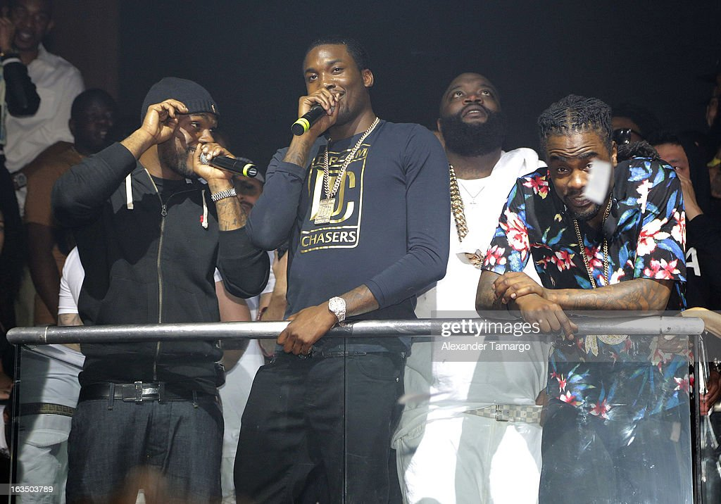 Meek Mill, Rick Ross and Wale are seen at the Reebok Classic white party hosted by Rick Ross at LIV nightclub at Fontainebleau Miami on March 10, 2013 in Miami Beach, Florida.
