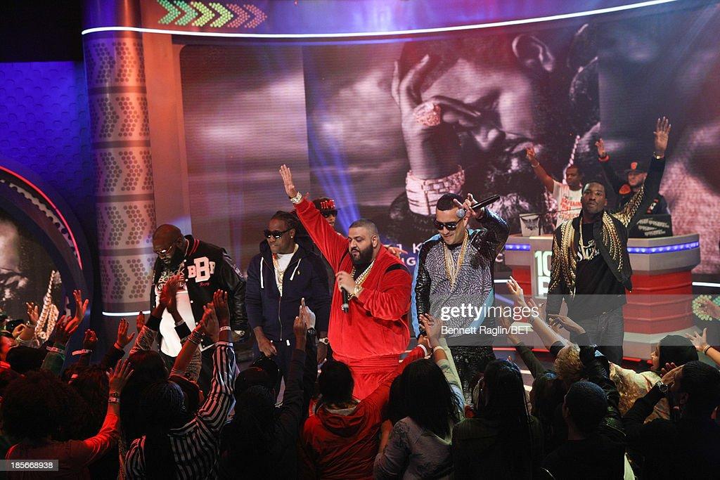Meek Mill, Rick Ross, Busta Ryhmes, Jadakiss, DJ Khaled, Swizz Beatz and French Montana, Ace Hood perform during 106 & Park at 106 & Park studio on October 22, 2013 in New York City.