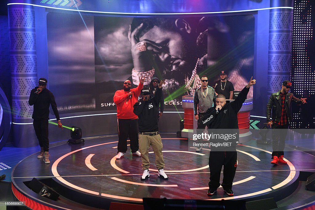 Meek Mill, Rick Ross, Jada Kiss, DJ Khaled, Ace Hood, French Montana, and Swizz Beatz visit 106 & Park at 106 & Park studio on October 22, 2013 in New York City.