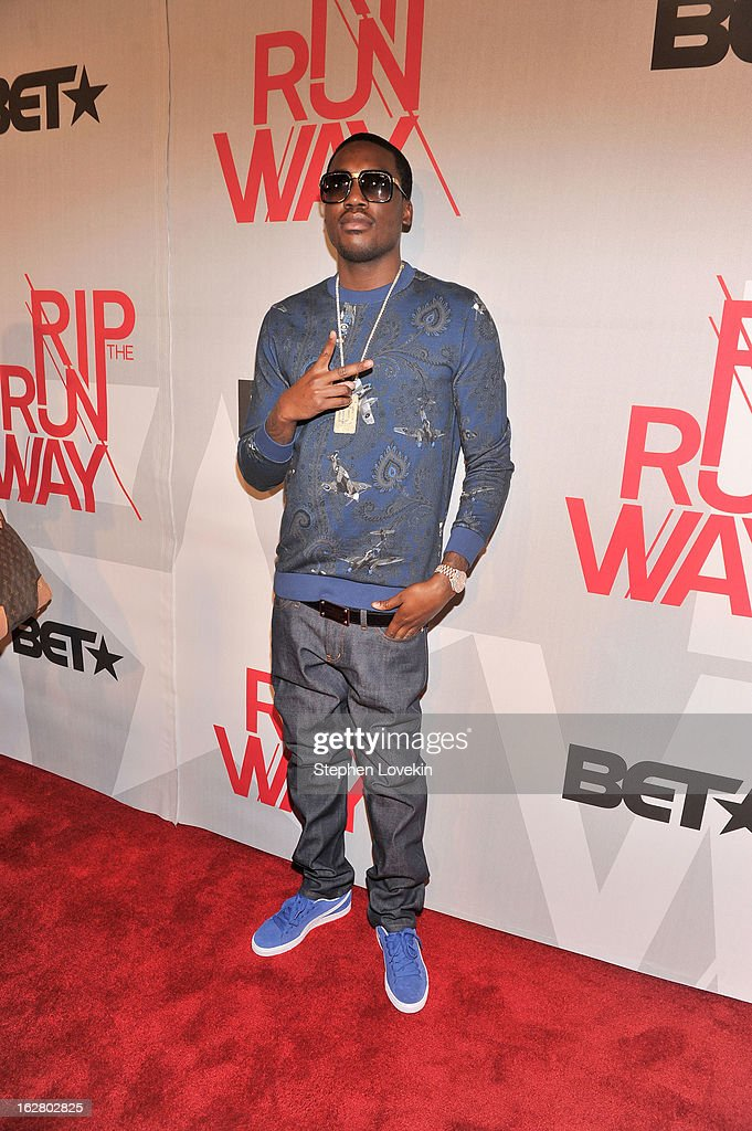 <a gi-track='captionPersonalityLinkClicked' href=/galleries/search?phrase=Meek+Mill&family=editorial&specificpeople=7187702 ng-click='$event.stopPropagation()'>Meek Mill</a>attends BET's Rip The Runway 2013:Red Carpet at Hammerstein Ballroom on February 27, 2013 in New York City.