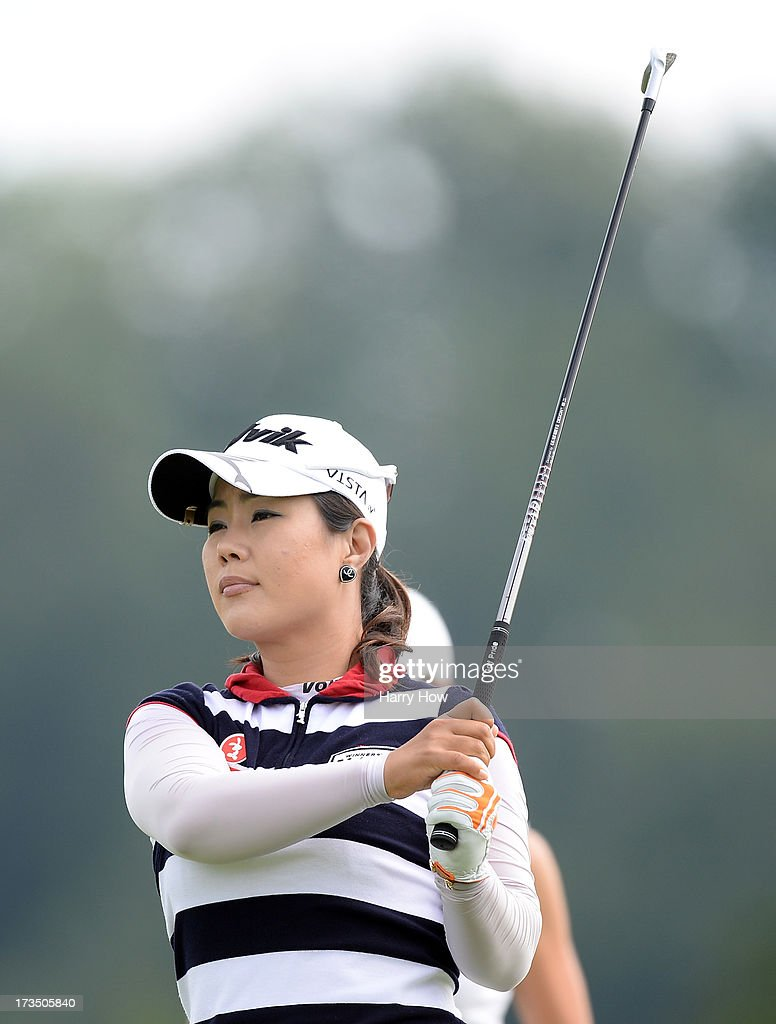 <a gi-track='captionPersonalityLinkClicked' href=/galleries/search?phrase=Meena+Lee&family=editorial&specificpeople=787206 ng-click='$event.stopPropagation()'>Meena Lee</a> of South Korea hits a tee shot on the ninth hole during round two of the Manulife Financial LPGA Classic at the Grey Silo Golf Course on July 12, 2013 in Waterloo, Canada.