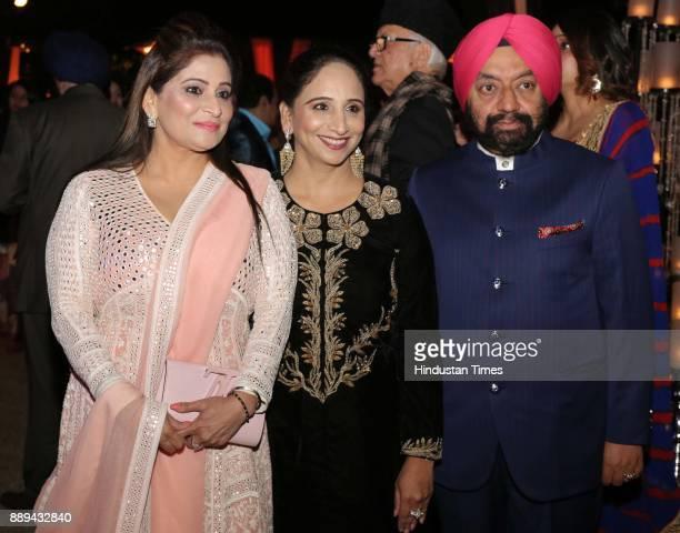 Meenu Banga and Daisy Sahney with Vikramjit Singh Sahney during a Gala evening showcasing fusion of Indian International Culture at Nandiya Garden...