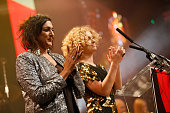 Meera Syal and MyAnna Buring on stage during The Moet British Independent Film Awards at Old Billingsgate Market on December 7 2014 in London England