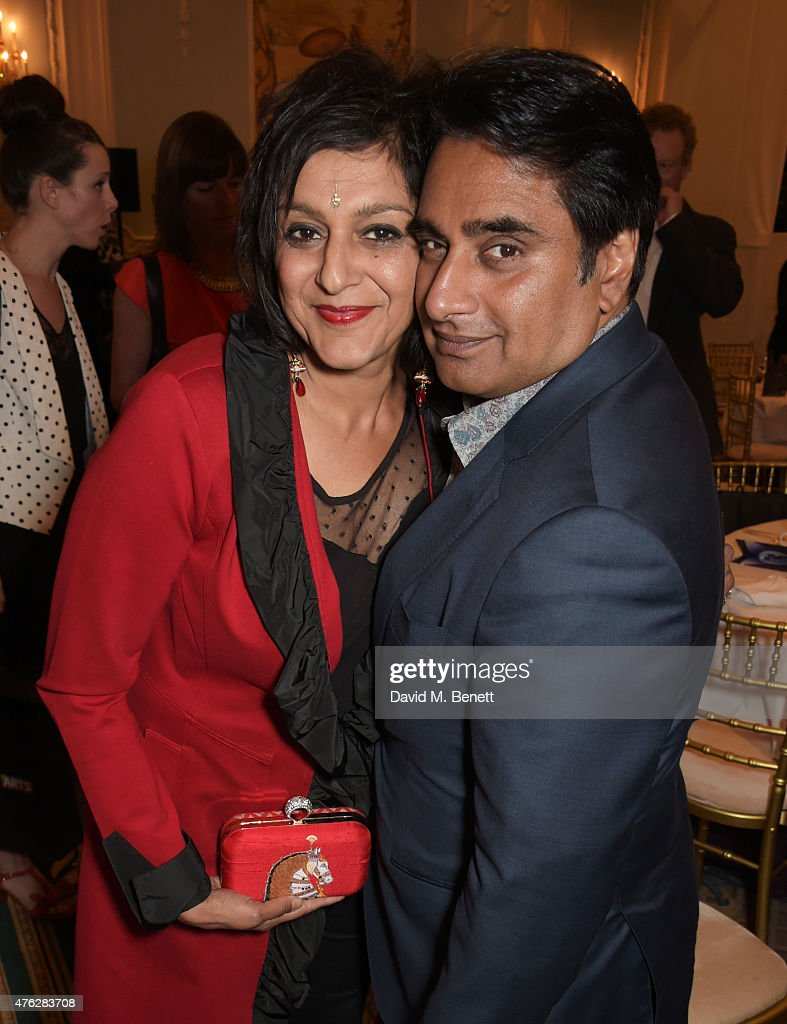 Meera Syal and Sanjeev Bhaskar attend an after party following the South Bank Sky Arts awards at The Savoy Hotel on June 7 2015 in London England