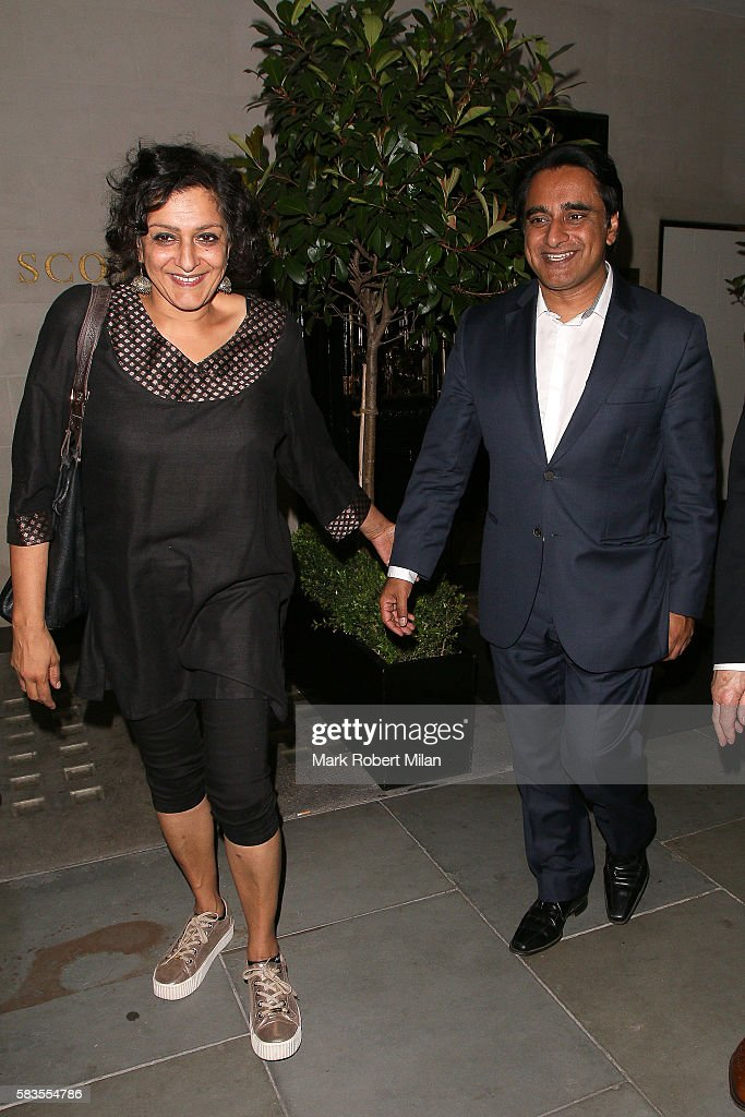 Meera Syal and Sanjeev Bhaskar leaving Scotts restaurant on July 26 2016 in London England