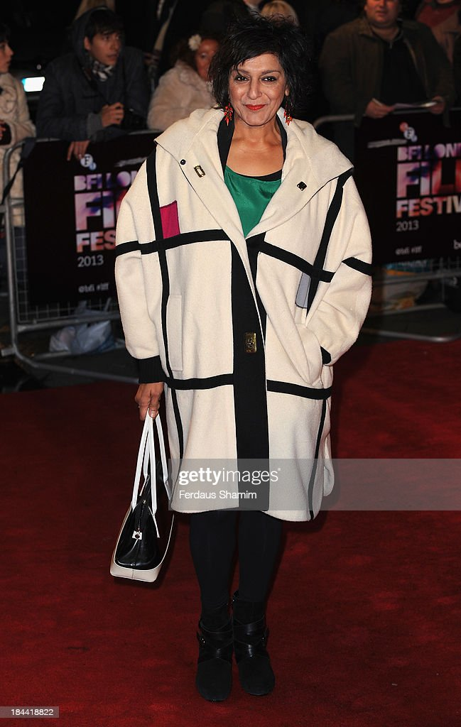 <a gi-track='captionPersonalityLinkClicked' href=/galleries/search?phrase=Meera+Syal&family=editorial&specificpeople=217491 ng-click='$event.stopPropagation()'>Meera Syal</a> attends a screening of 'Zero Theorem' during the 57th BFI London Film Festival at Odeon West End on October 13, 2013 in London, England.