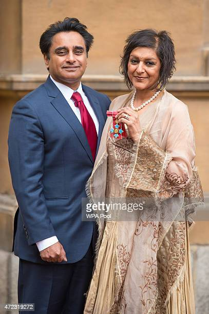 Meera Syal with her husband Sanjeev Bhaskar after she was presented with her Commander of the British Empire medal awarded by the Prince of Wales at...
