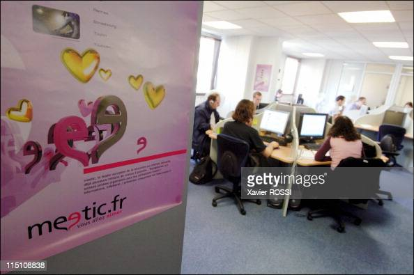 Meetic Europe's biggest online dating business makes its debut on the Paris stock exchange in Boulogne Billancourt France on October 14 2005 The...