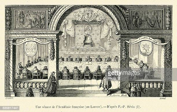 A meeting at the Académie Française at the Louvre 19th Century engraving