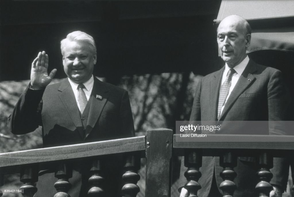 A meeting between Boris Yeltsin and former French President Valery Giscard d'Estaing. Paris, France, in April 1991.