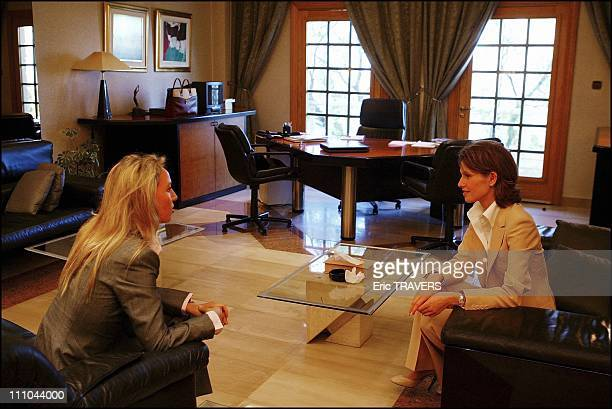 Meeting between Camilla and Asma wife of President Bachar Al Assad in Damas Syria on March 22 2004