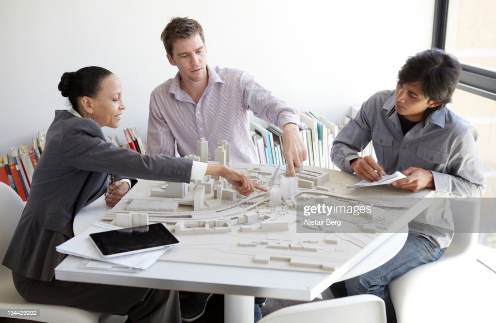 Meeting in an architects office : Stock Photo