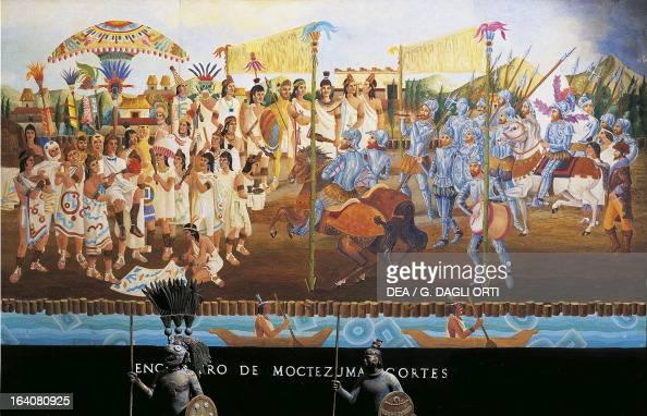 Meeting in Tenochtitlan between Hernan Cortes and Montezuma II November 8 Mexico Central America 16th century Mexico City Museo De La Ciudad De México