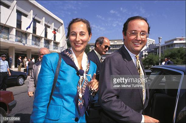 Meeting of 'Democratie 2000' in Lorient France on September 08 1991 Segolene Royal and Francois Hollande