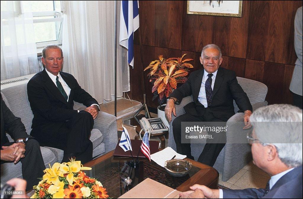 Meeting of J.Baker and Y.Shamir in Jerusalem, Israel on October, 1991.