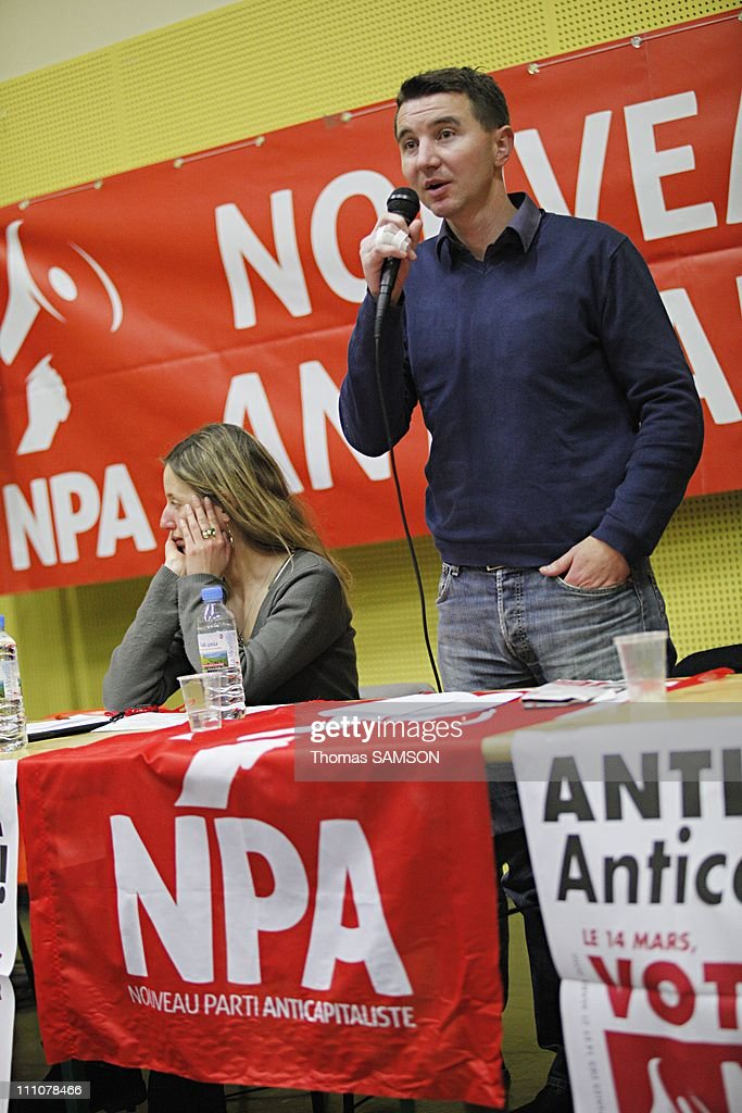 Meeting of NPA leader, <a gi-track='captionPersonalityLinkClicked' href=/galleries/search?phrase=Olivier+Besancenot&family=editorial&specificpeople=635113 ng-click='$event.stopPropagation()'>Olivier Besancenot</a> in Pantin, France on February 16th, 2010 - <a gi-track='captionPersonalityLinkClicked' href=/galleries/search?phrase=Olivier+Besancenot&family=editorial&specificpeople=635113 ng-click='$event.stopPropagation()'>Olivier Besancenot</a>, leader of the NPA (Nouveau Parti Anticapitaliste).