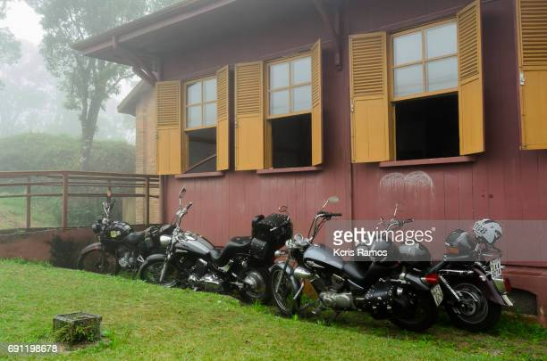 Meeting of old motorcycles in paranapiacba in brazil