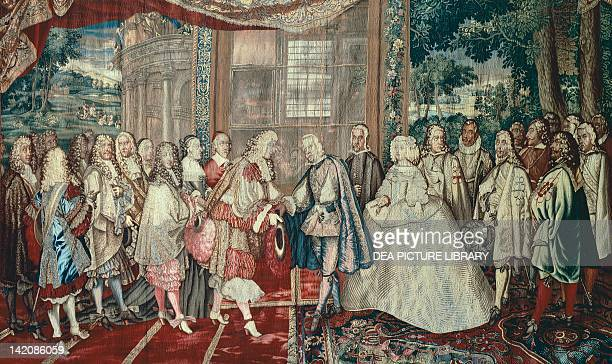 Meeting of Philip IV of Spain and Louis XIV of France at Pheasant Island June 6 17th century French tapestry by Jean Mozin's workshop manufacture of...