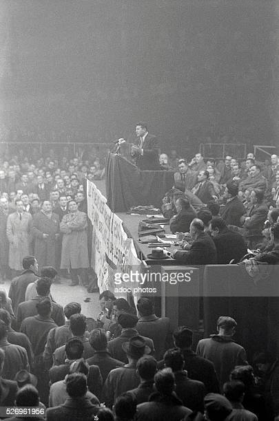 A meeting of Pierre Poujade at the Vel d'Hiv in Paris In January 1956