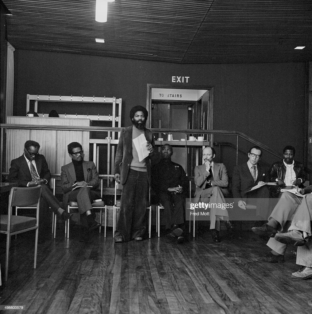 A meeting of the Notting Hill Carnival Development Committee London 19th January 1977 Left to right secretary James Cumming treasurer Russell...