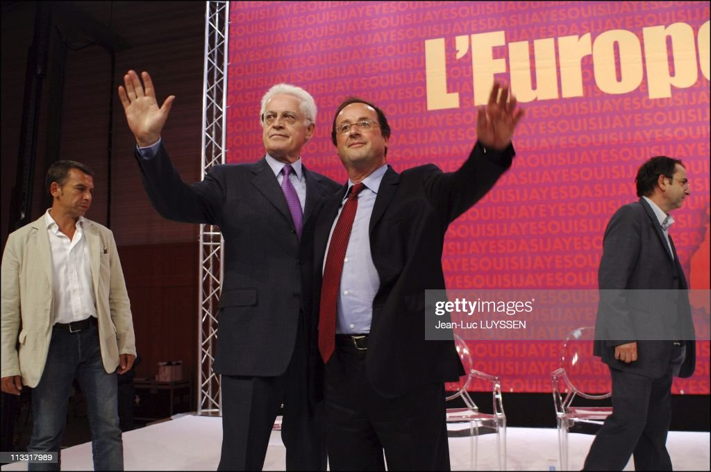 Meeting Of The Socialist Party For The Yes With Francois Hollande And <a gi-track='captionPersonalityLinkClicked' href=/galleries/search?phrase=Lionel+Jospin&family=editorial&specificpeople=210565 ng-click='$event.stopPropagation()'>Lionel Jospin</a> On May 19Th, 2005 In Nantes, France - From Left To Right : <a gi-track='captionPersonalityLinkClicked' href=/galleries/search?phrase=Philippe+Torreton&family=editorial&specificpeople=242928 ng-click='$event.stopPropagation()'>Philippe Torreton</a>, <a gi-track='captionPersonalityLinkClicked' href=/galleries/search?phrase=Lionel+Jospin&family=editorial&specificpeople=210565 ng-click='$event.stopPropagation()'>Lionel Jospin</a>, Francois Hollande.