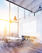 Meeting room with panoramic window and big white poster. New York view. Toned, filter. Concept of meeting. Mock up. 3D render