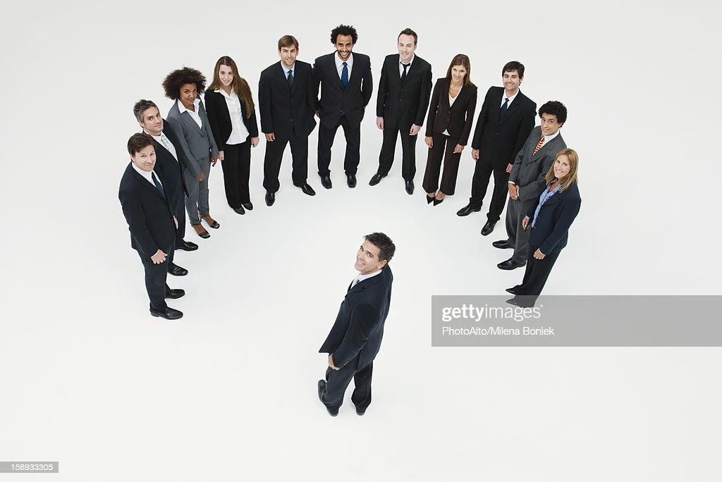CEO meeting with team of business associates