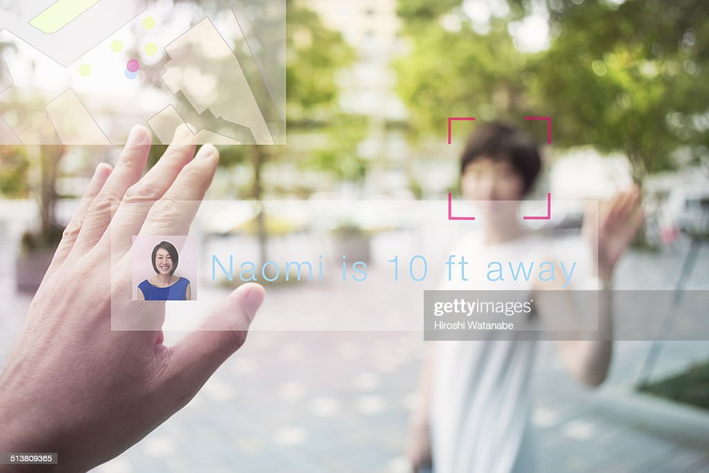 Meeting with wife seen through smart glasses.