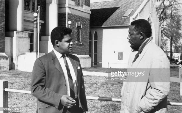 Meetting outside Forrest County Courthouse march 14th are Charles Evers NAACP field director who lost his bid for a seat in Congress and Alvin Dahmer...