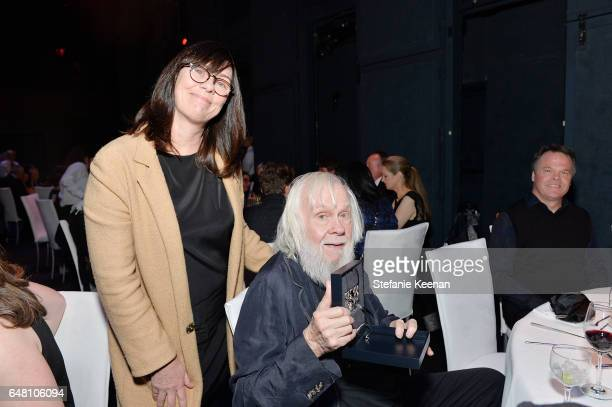 Meg Cranston and John Baldessari attend 2017 REDCAT Gala Honoring Janet Dreisen Rappaport and John Baldessari on March 4 2017 in Los Angeles...