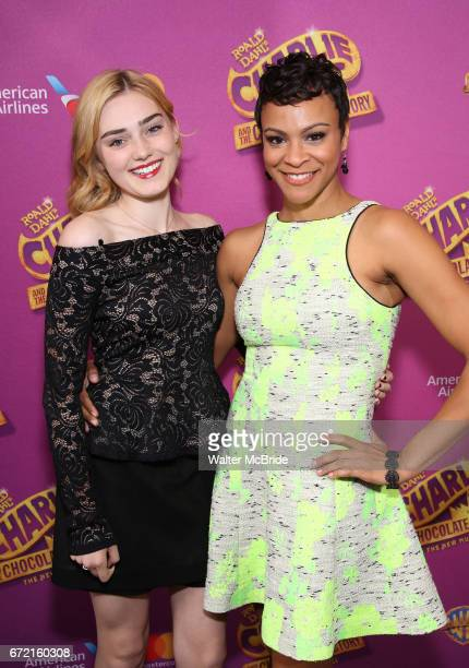 Meg Donnelly and Carly Hughes attend the Broadway Opening Performance of 'Charlie and the Chocolate Factory' at the LuntFontanne Theatre on April 23...