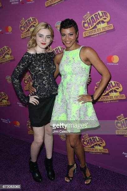 Meg Donnelly and Carly Hughes attends the 'Charlie And The Chocolate Factory' Broadway opening night at at LuntFontanne Theatre on April 23 2017 in...