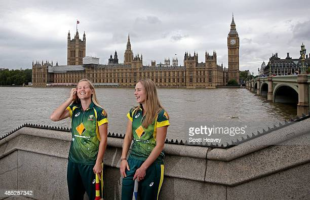 Meg Lanning and Elyse Perry of the Australian Women's cricket team pose in front of Big Ben on August 3 2015 in London England