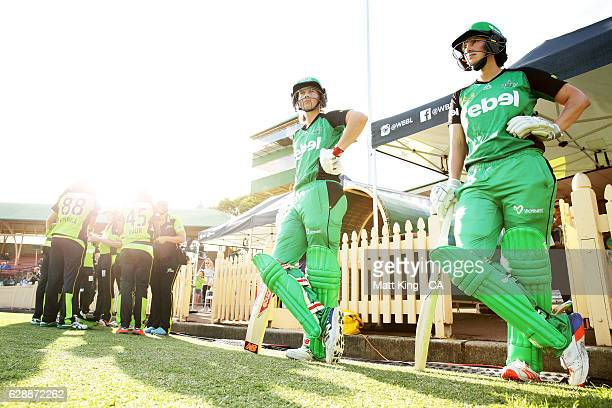 'SYDNEY AUSTRALIA DECEMBER 10 Meg Lanning and Emma Inglis of the Stars prepare to bat during the Women's Big Bash League match between the Sydney...