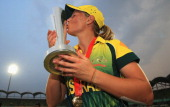 Meg Lanning captain of Australia celebrates her teams victory after beating England during the ICC World Twenty20 Bangladesh 2014 Womens Final...