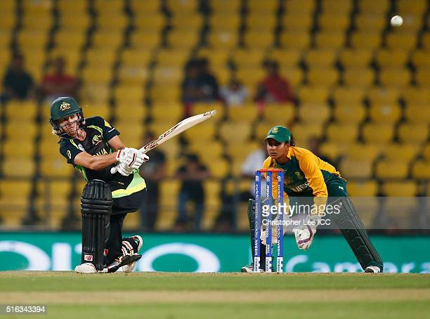 Meg Lanning Captain of Australia in action with Trisha Chetty of South Africa during the Women's ICC World Twenty20 India 2016 Group A match between...