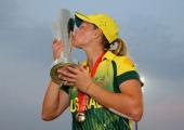 Meg Lanning captain of Australia kisses the trophy after winning the Final of the ICC Women's World Twenty20 Bangladesh 2014 between Australia Women...
