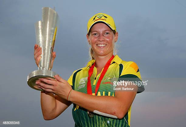 Meg Lanning captain of Australia poses with the trophy after winning the Final of the ICC Women's World Twenty20 Bangladesh 2014 between Australia...