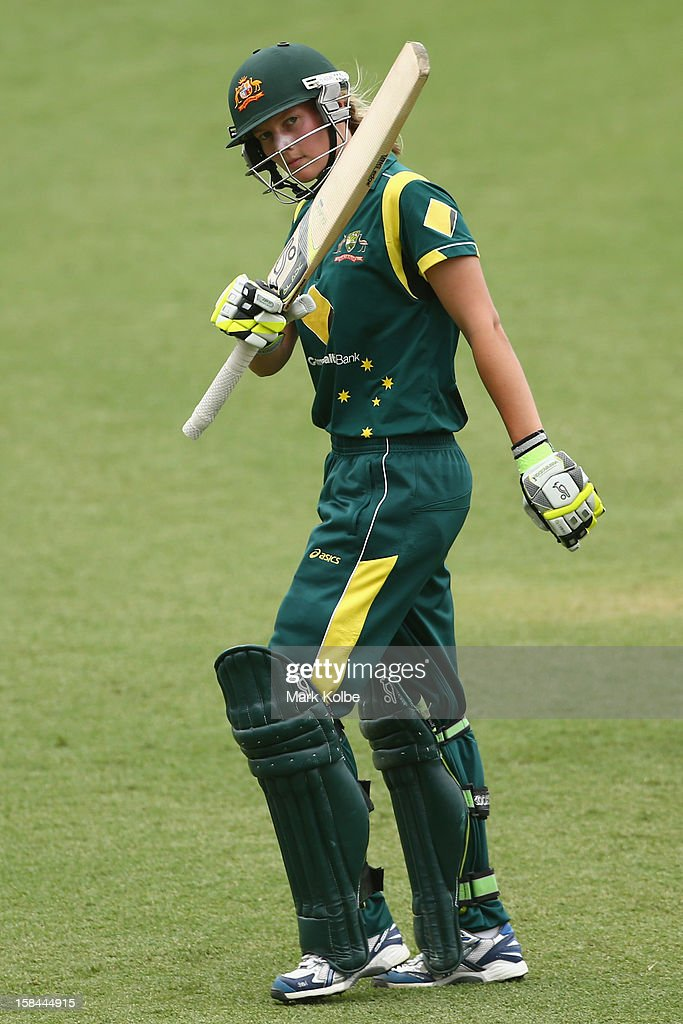 Meg Lanning of Australia acknowledges the crowd as she leaves the after being dismissed for 103 during game three of the One Day International series between the Australian Southern Stars and New Zealand at North Sydney Oval on December 17, 2012 in Sydney, Australia.